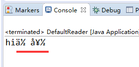 default charset reader test in Eclipse console with param -Dfile.encoding iso-8859-1